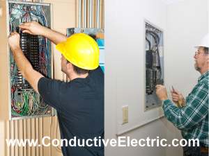 image of electricans working inside of electrical panels
